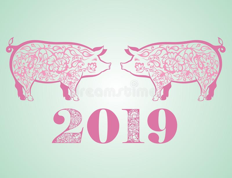 Cute funny pig. Happy New Year. Chinese symbol of the 2019 year stock illustration