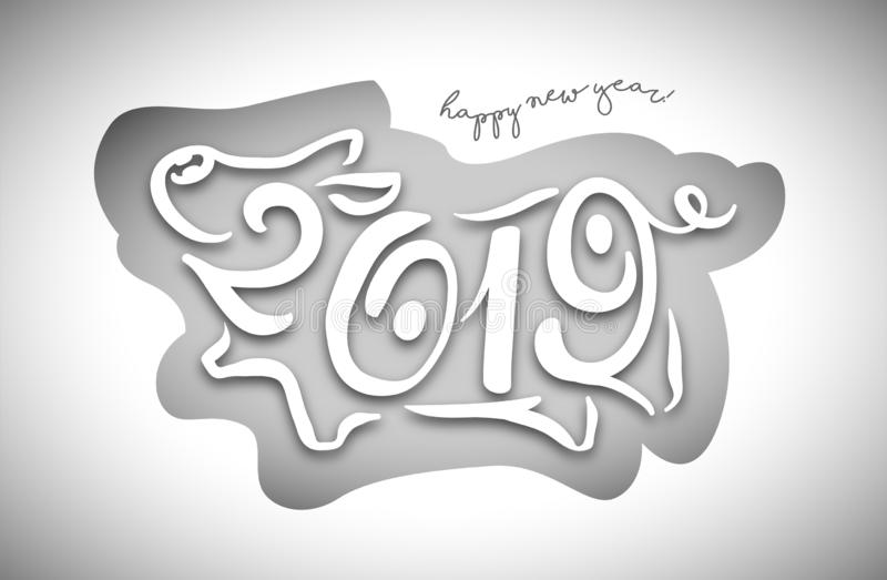 Cute funny pig. Happy New Year. Chinese symbol of the 2019 year. Excellent festive gift card. Vector illustration royalty free illustration