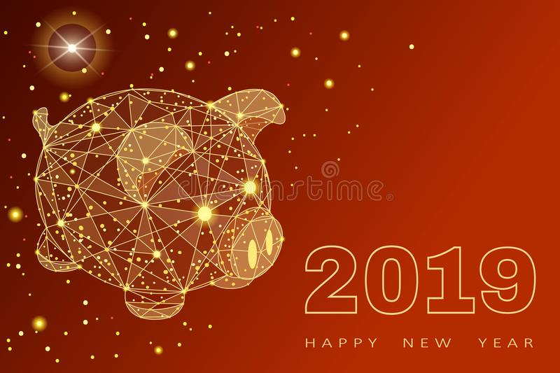 Cute funny pig. Happy New Year. Chinese symbol of the 2019 year. Excellent festive gift card. Vector illustration on red royalty free illustration