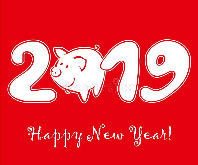 Cute funny pig on red background stock images