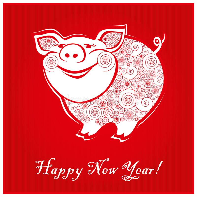 Cute funny pig on red background 1 stock photos
