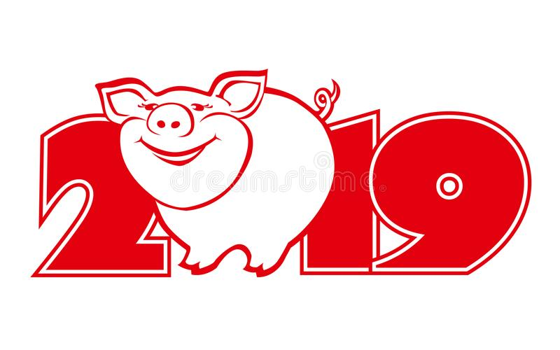 Cute funny pig on white background 2 stock images