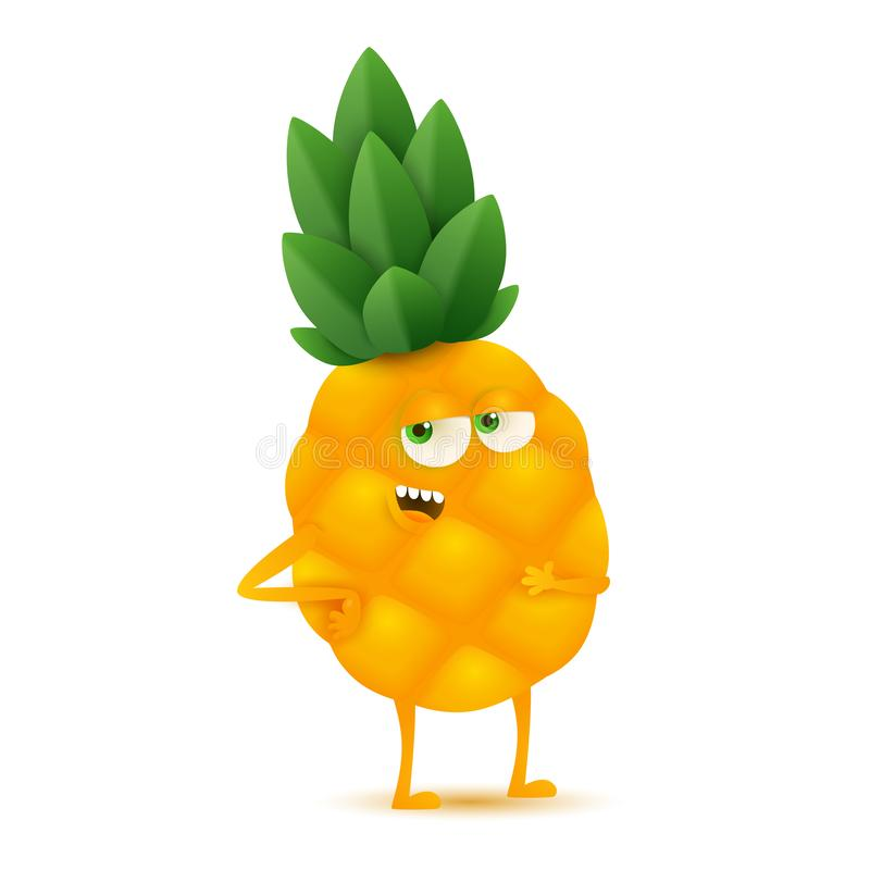 Cute and funny pineapple character, cartoon vector illustration isolated on white background royalty free illustration