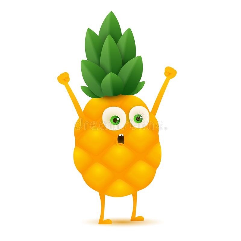 Cute and funny pineapple character, cartoon vector illustration isolated on white background vector illustration