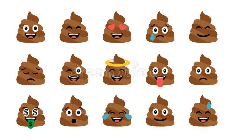 Cute funny poop set. Emotional shit icons. Happy emoji, emoticons vector illustration