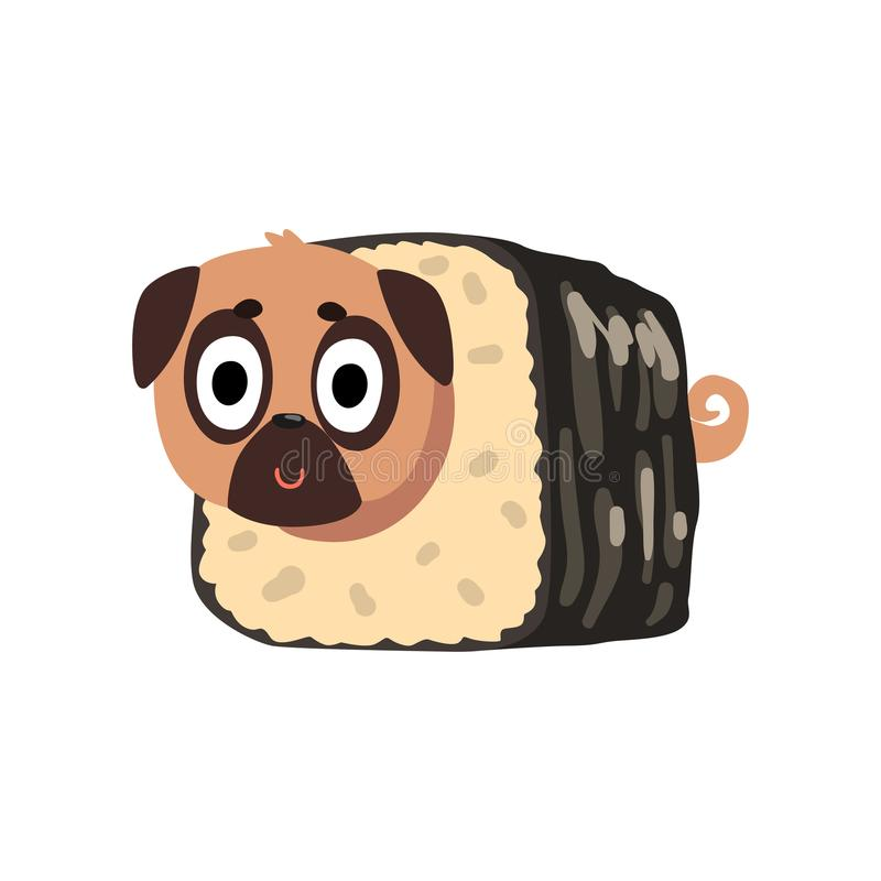 Cute funny pug dog character inside sushi roll vector Illustration on a white background vector illustration