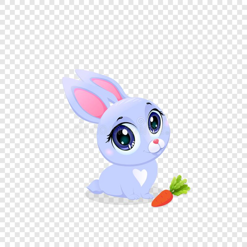 Cute Funny Rabbit with Carrot Isolated Clip Art royalty free illustration
