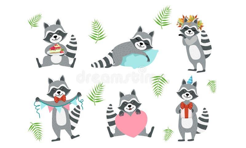 Cute Funny Racons Collection, adorable Funny Animal Character in diverse situazioni Illustrazione vettoriale illustrazione di stock