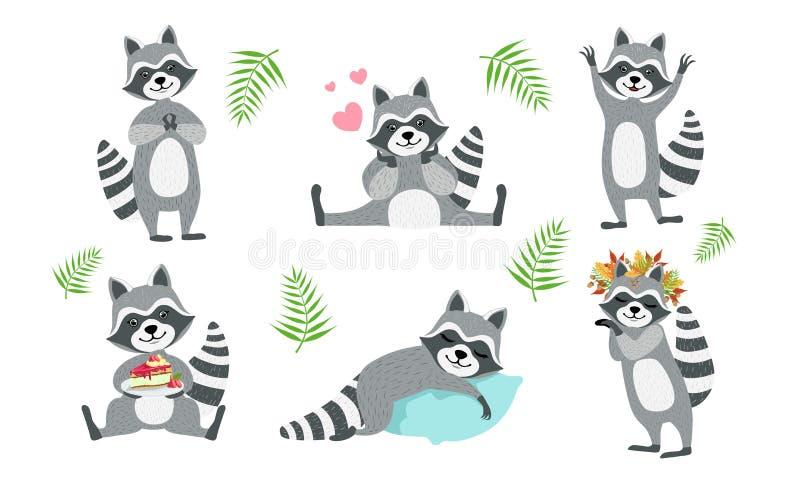 Cute Funny Racons Collection, adorable Funny Forest Animal Character in diverse situazioni Illustrazione vettoriale royalty illustrazione gratis