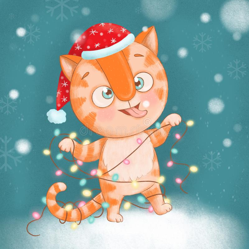 Cute and funny red striped cat tangled up in a New Year tree garland stock photos