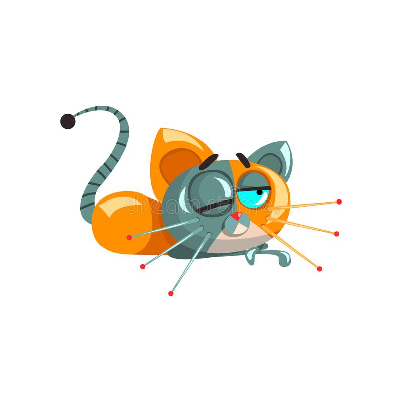 Cute funny robotic cat lying on the floor, artificial intelligence concept vector Illustrations on a white background stock illustration