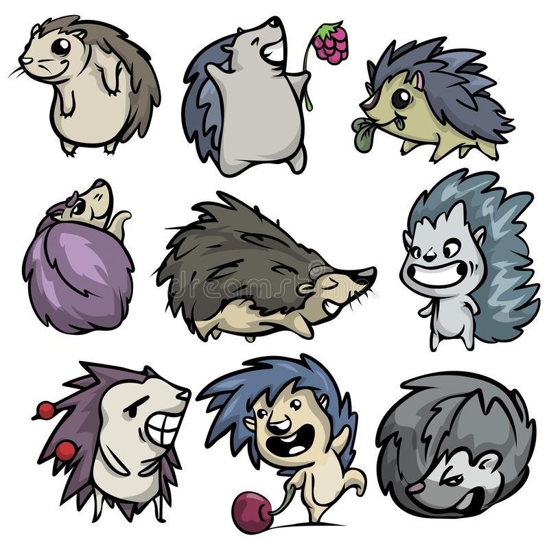 Cute funny set of hedgehog character in different actions vector illustration