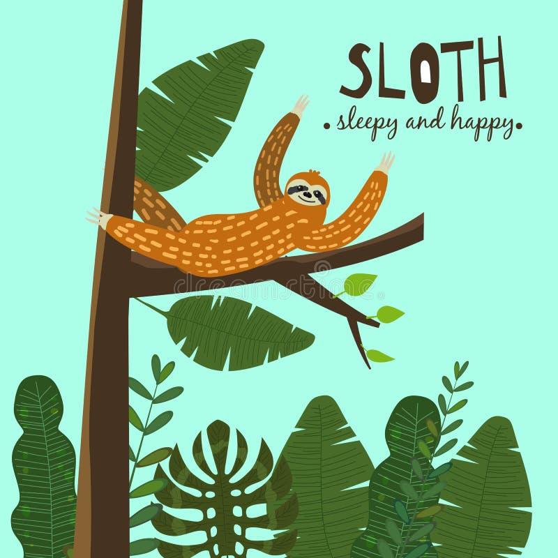 Cute funny sloth hanging on the tree. Sleepy and happy. Adorable hand drawn cartoon animal illustration. Vector cute. Cute funny sloth hanging on the tree stock illustration