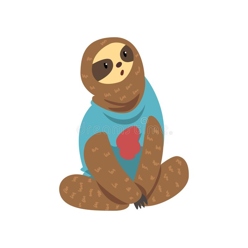 Cute funny sloth, lazy exotic rainforest animal character vector Illustrations on a white background. Cute funny sloth, lazy exotic rainforest animal character stock illustration