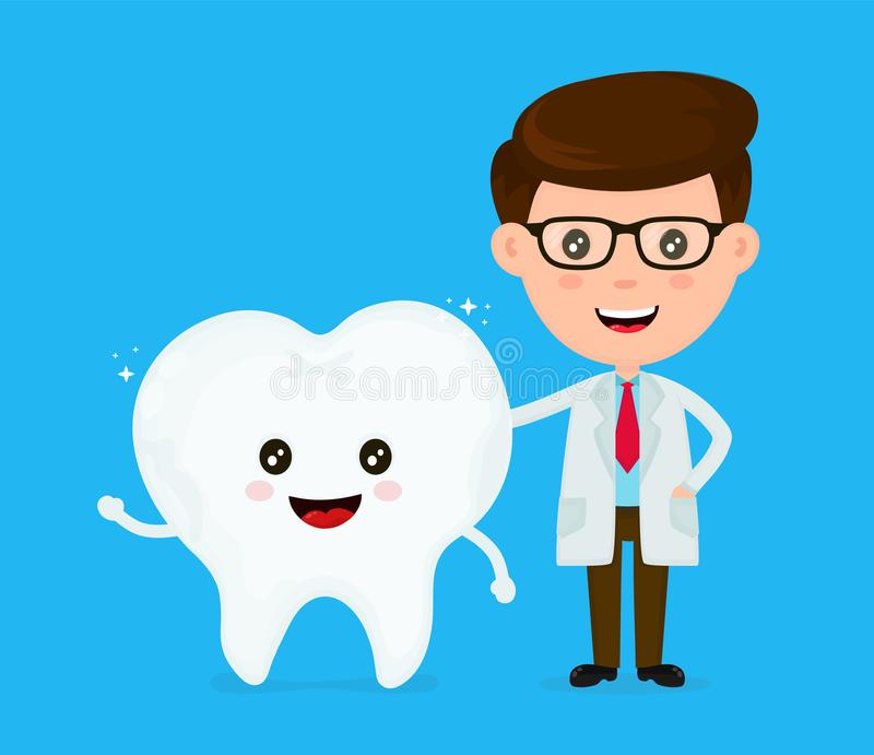 Cute funny smiling dentist and healthy royalty free illustration