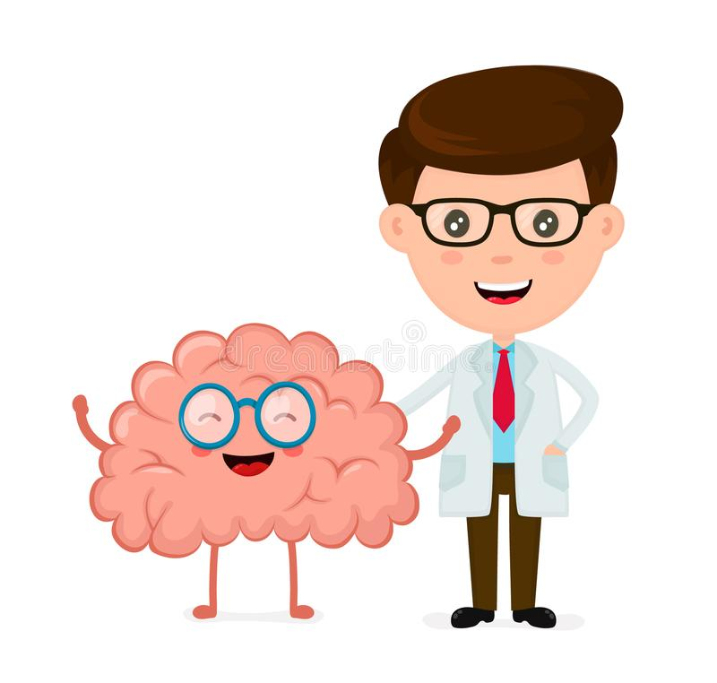 Cute funny smiling doctor and healthy happy brain vector illustration