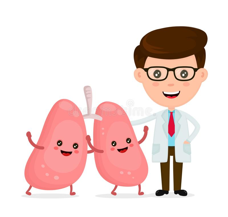 Cute funny smiling doctor and healthy happy lungs vector stock illustration