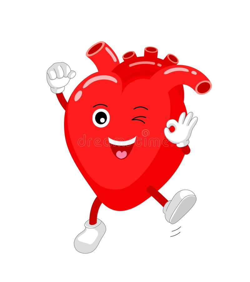 Cute and funny, smiling red heart character. stock illustration