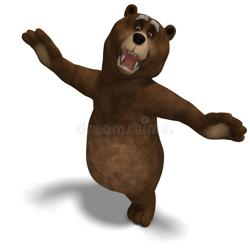 Download Cute And Funny Toon Bear. 3D Rendering With Royalty Free Stock Photos - Image: 14606178