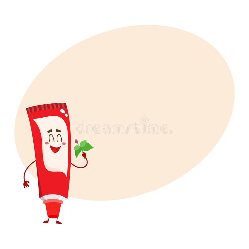 Cute and funny toothpaste character with smiling face royalty free illustration