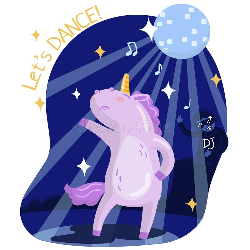 Cute funny unicorn dancing, music party. Lets dance vector vector illustration