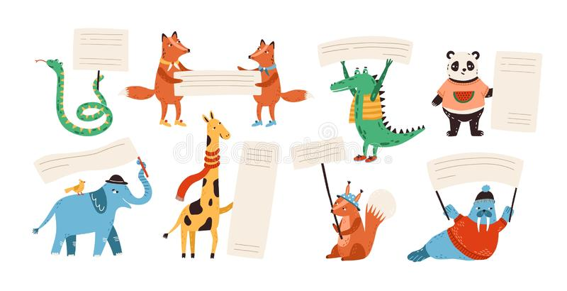 Cute funny wild animals holding empty banners, cards, flags, billboards with place for text. Adorable happy cartoon royalty free illustration