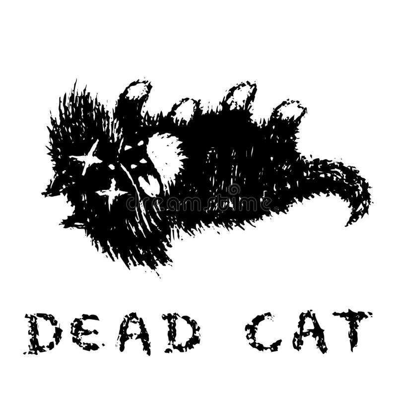 Cute fur the cat is dead and lies upside down. Vector illustration. stock photos
