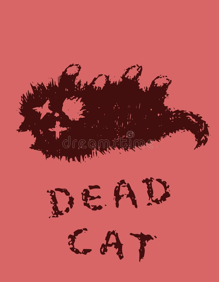 Cute fur the cat is dead. Vector illustration. Cute fur the cat is dead. Red background color. Vector illustration stock illustration