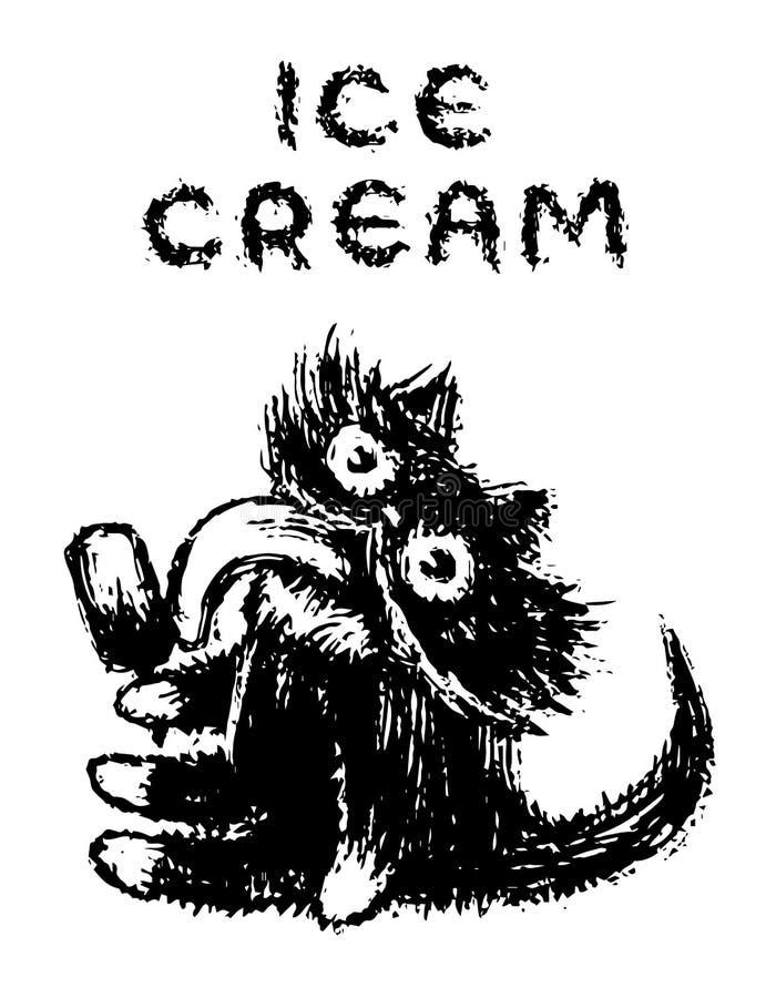 Cute fur cat eats ice cream on a stick. Vector illustration. stock photos