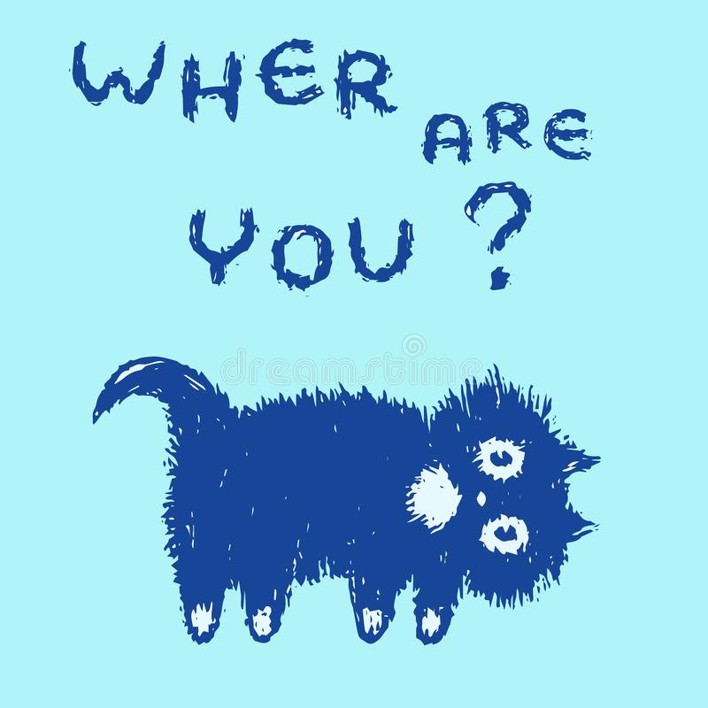 Cute fur cat looking for you. Vector illustration. stock image
