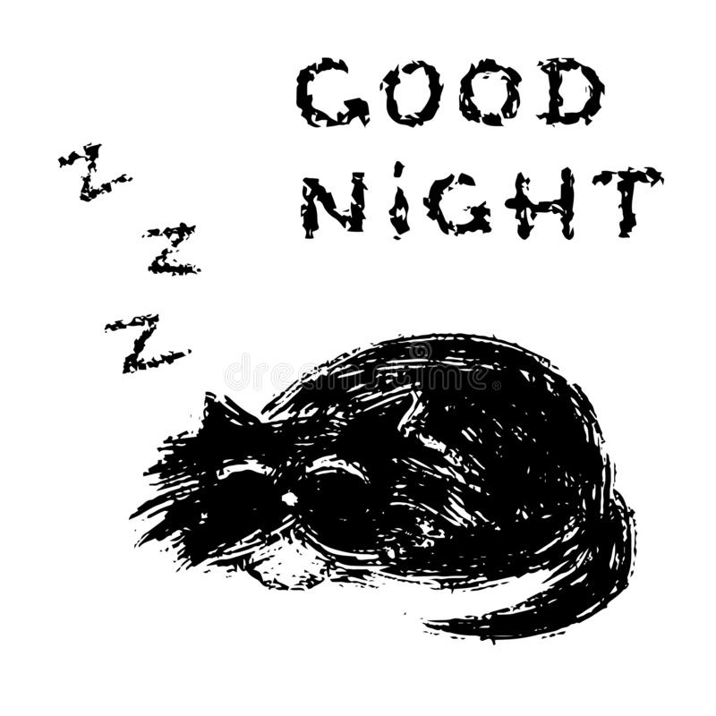Cute fur cat sleeps and snores. Vector illustration. royalty free stock photography
