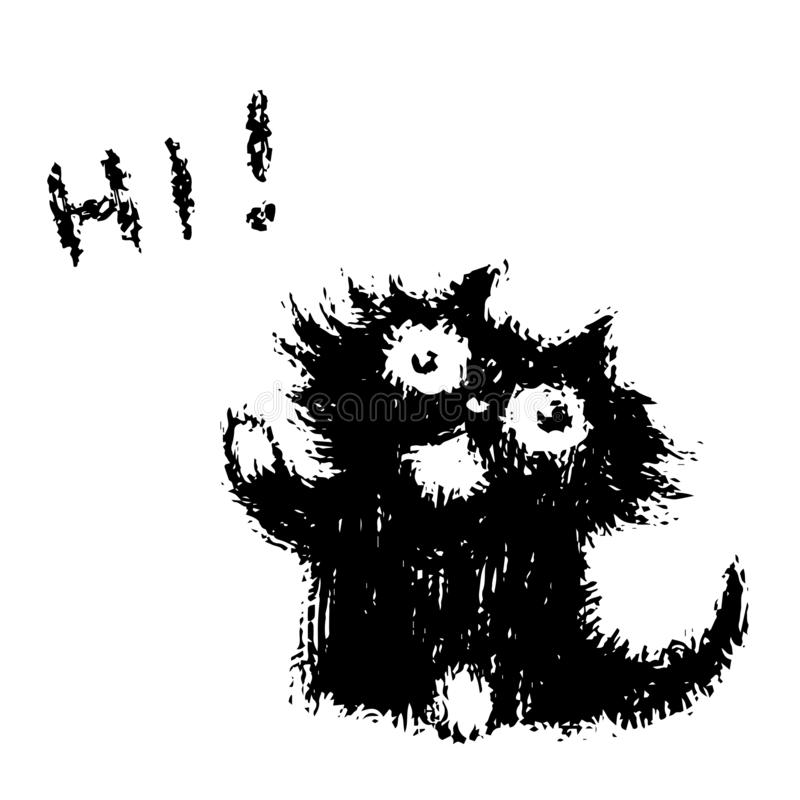 Cute fur friendly cat says hi. Vector illustration. stock image