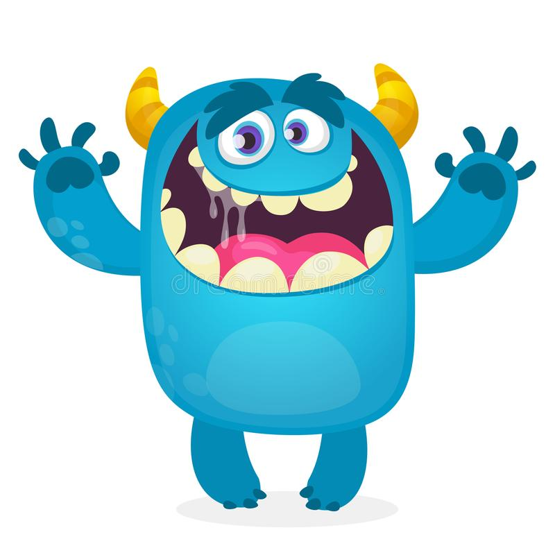 Cute furry blue monster. Vector bigfoot or troll character mascot. Design for children book. Holiday decoration, stickers or print stock illustration