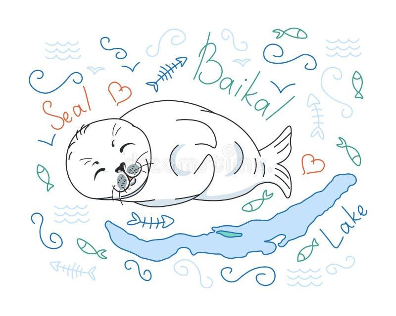 Cute futerko foka, mały jezioro balijskie nerpa na białym tle z elementami lodu, problem wyginięcia zwierząt, Red List, edytowaln ilustracja wektor