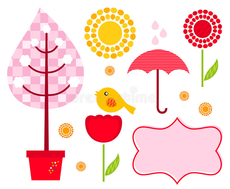 Cute garden elements isolated on white royalty free illustration