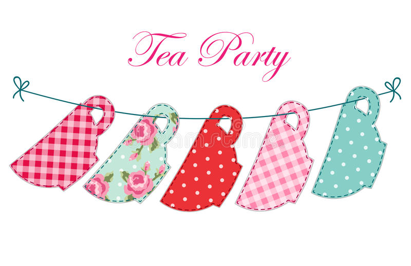 Cute garland of tea cups as retro applique for tea party royalty free illustration