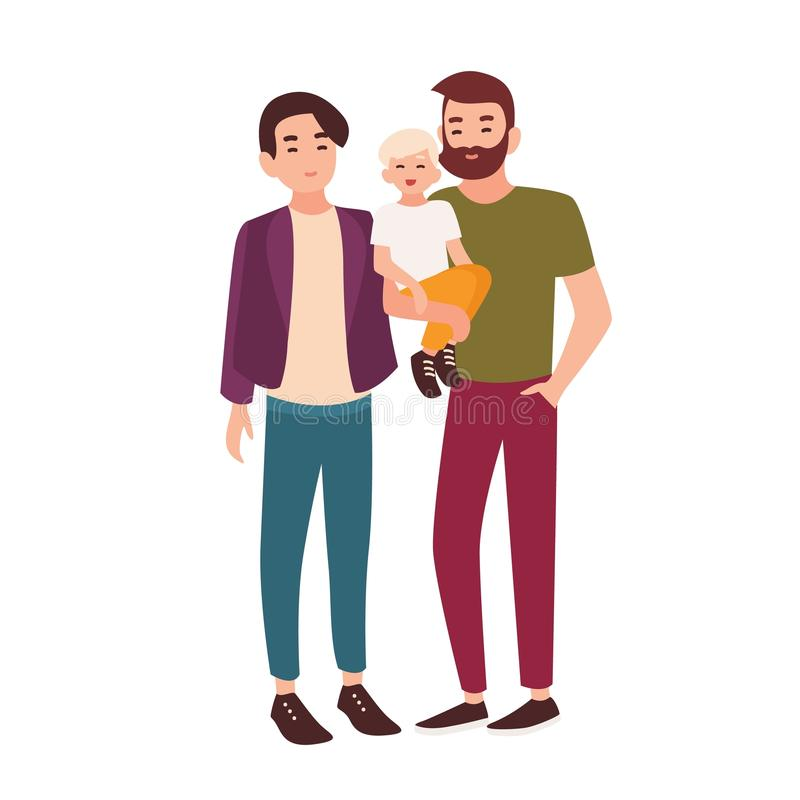 Cute gay couple standing together and holding little child. Pair of smiling men and their kid. Homosexual family. Flat vector illustration