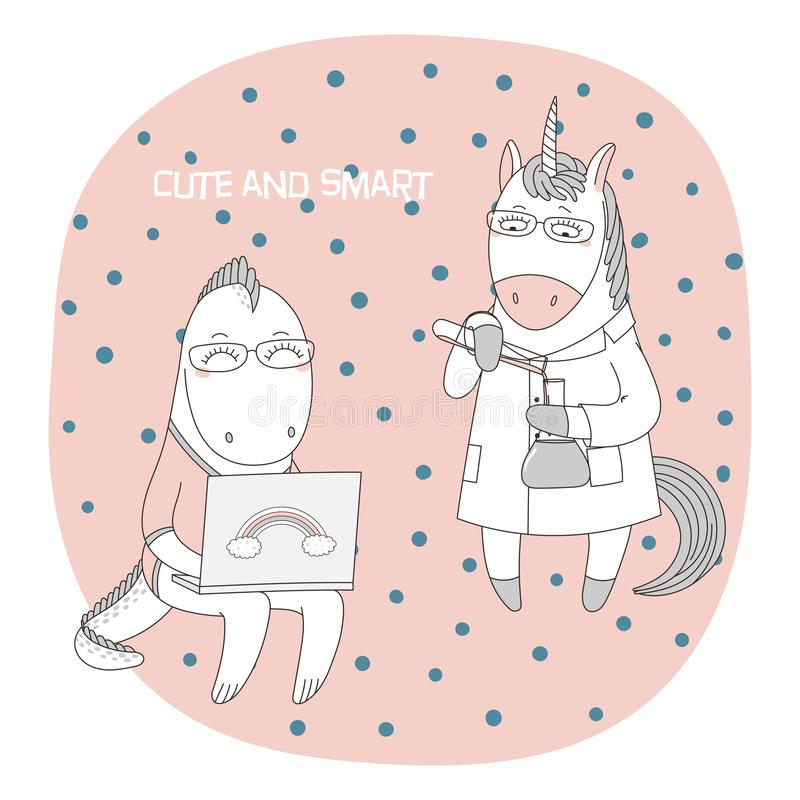 Cute geeky dragons, unicorns. Hand drawn vector illustration of a cute funny cartoon unicorn in a lab coat, with chemical reagents, dragon in glasses, holding a royalty free illustration