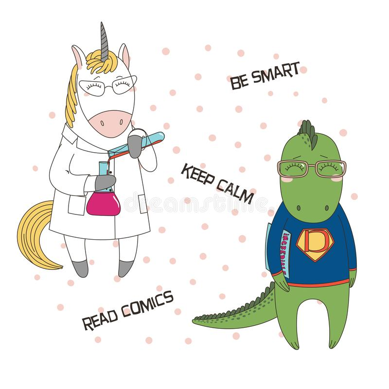 Cute geeky dragons, unicorns. Hand drawn vector illustration of a cute funny unicorn in a lab coat, with chemical reagents, dragon in glasses, holding a comic stock illustration