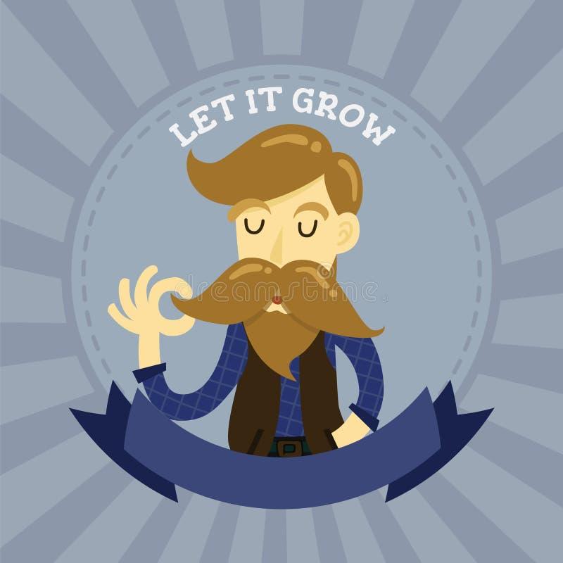 Cute gentleman hipster cartoon charactor badge logo. Long mustache man emblem royalty free illustration