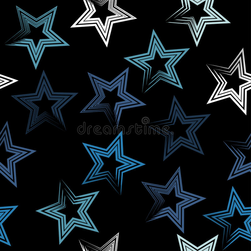 Cute geometric seamless pattern. Brush strokes and stars. Hand drawn grunge texture. Abstract forms. Endless texture can be. Cute geometric seamless pattern royalty free illustration