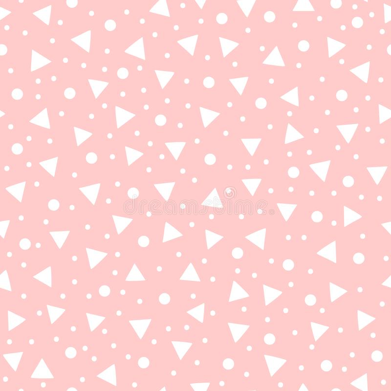 Cute geometric seamless pattern drawn by hand. White geometric shapes on pink background. vector illustration