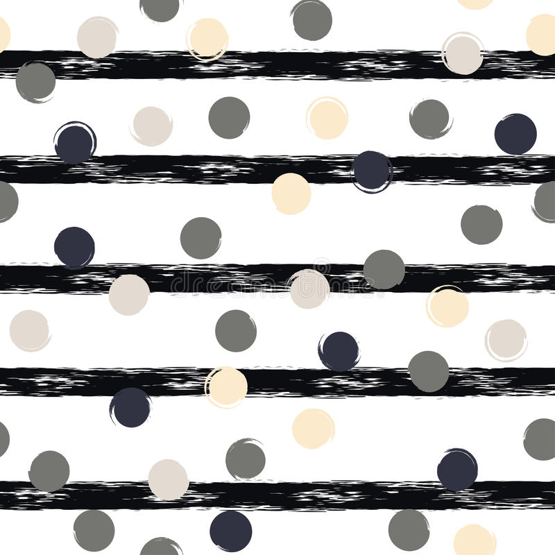 Cute geometric seamless pattern . Polka dots and stripes. Brush strokes. Hand drawn grunge texture. Abstract forms. Endless. Texture can be used for printing stock illustration