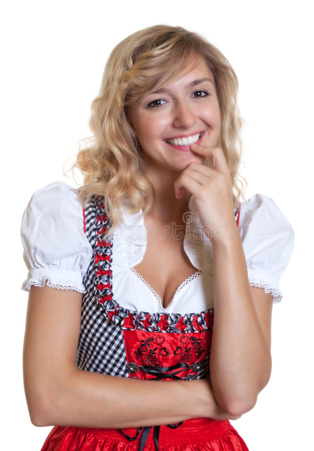 Cute german woman in a traditional bavarian dirndl. On an isolated white background for cut out stock photos