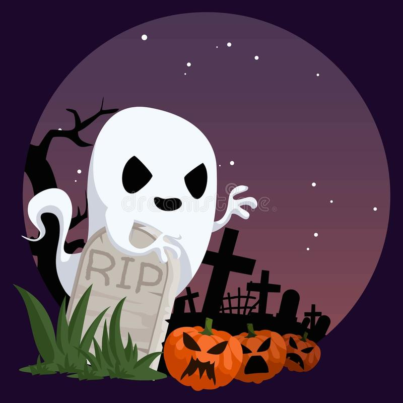 Ghost in A Cemetery. A cute ghost in cemetery hovering behind tomstone with some pumpkins royalty free illustration