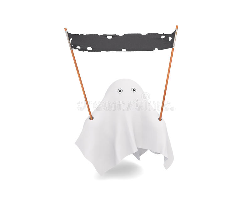 Download A Cute Ghost Holding An Old Banner Stock Illustration - Illustration: 32483633