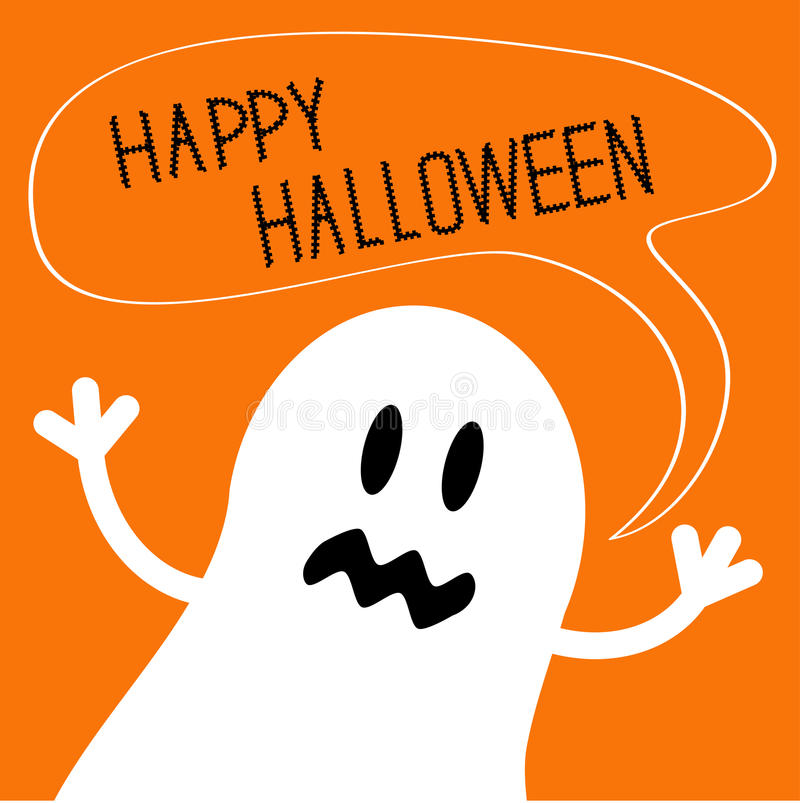 Cute ghost monster with speech text bubble. Happy Halloween card. Flat design. stock illustration