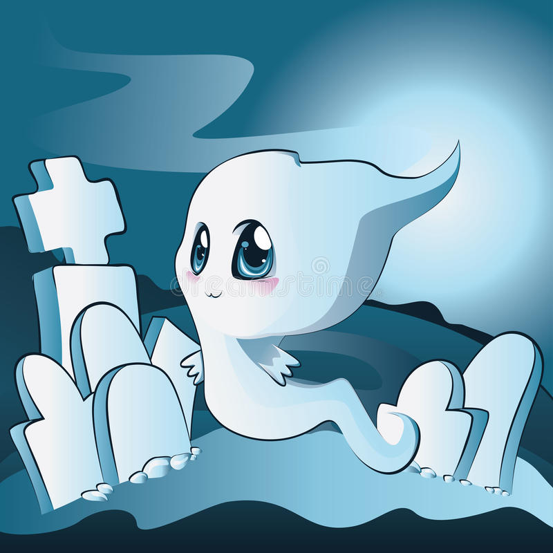 Free Cute Ghost On Cemetery Royalty Free Stock Images - 34694969