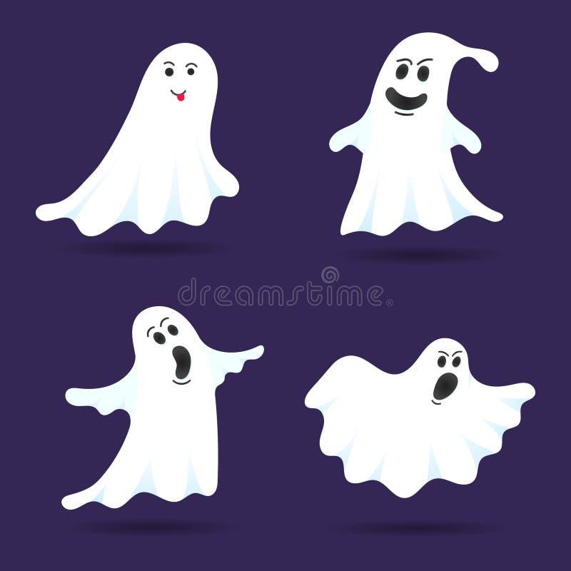 4 cute Ghost-Zeichen flache Design-Vektor-Zeichensatz vektor abbildung