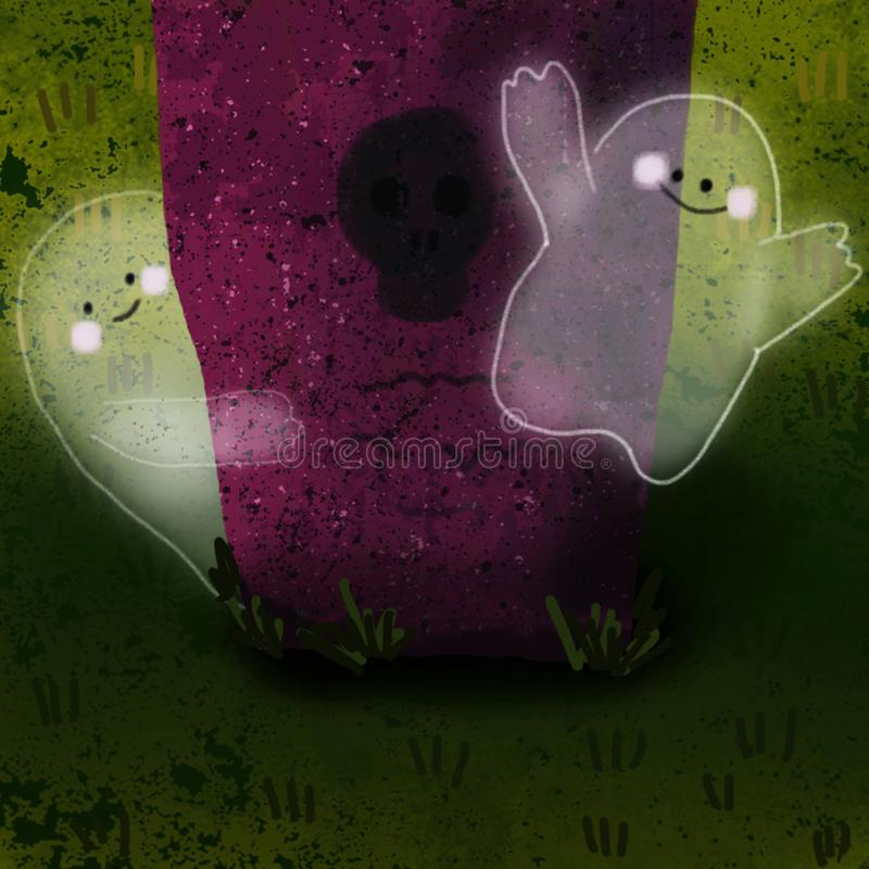 Cute ghosts in the cemetery vector illustration